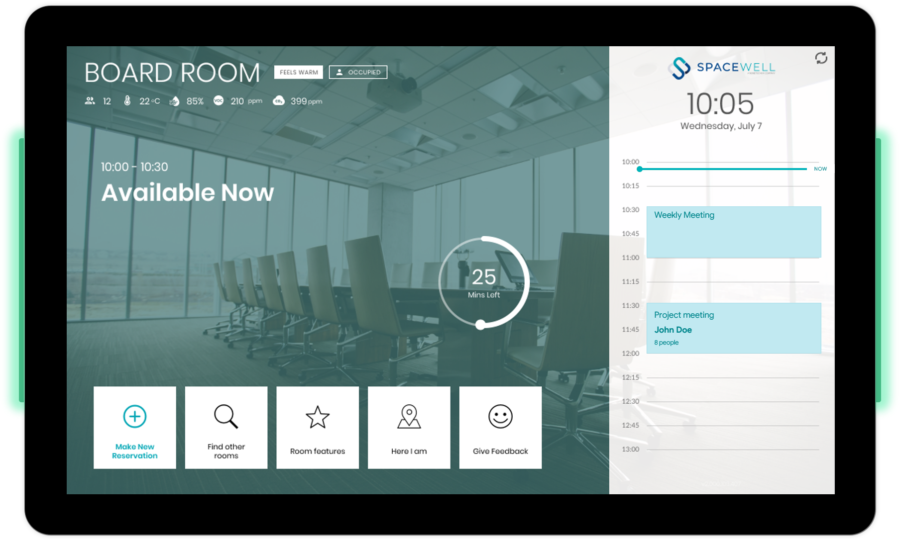 Meeting room display (Spacewell smart building platform)