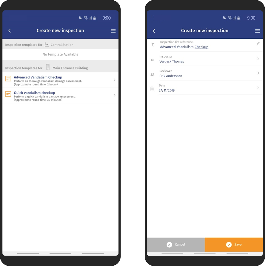Create new inspections mobile screenshots