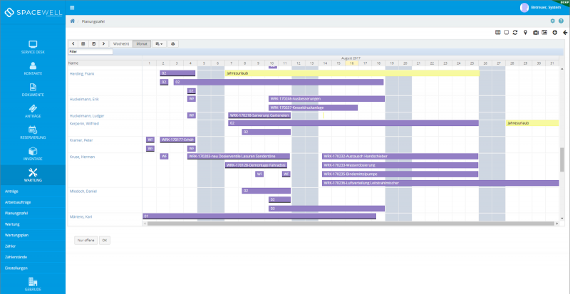 Maintenance plan screenshot