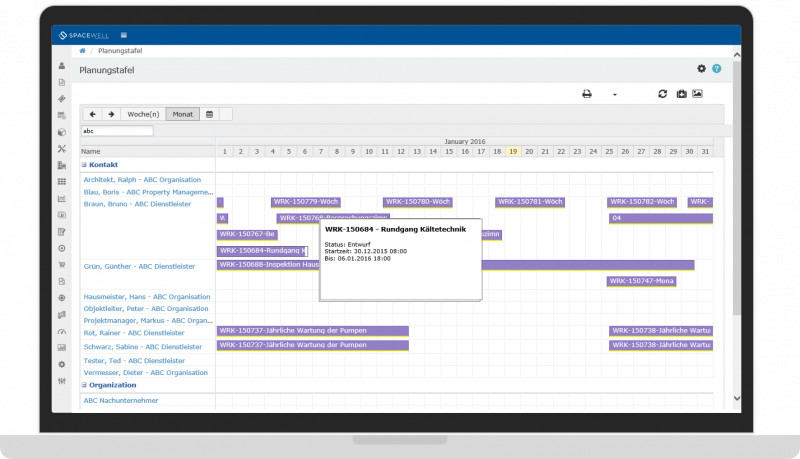 Mjukvara för arbetsordrar och schemaläggning av resurser