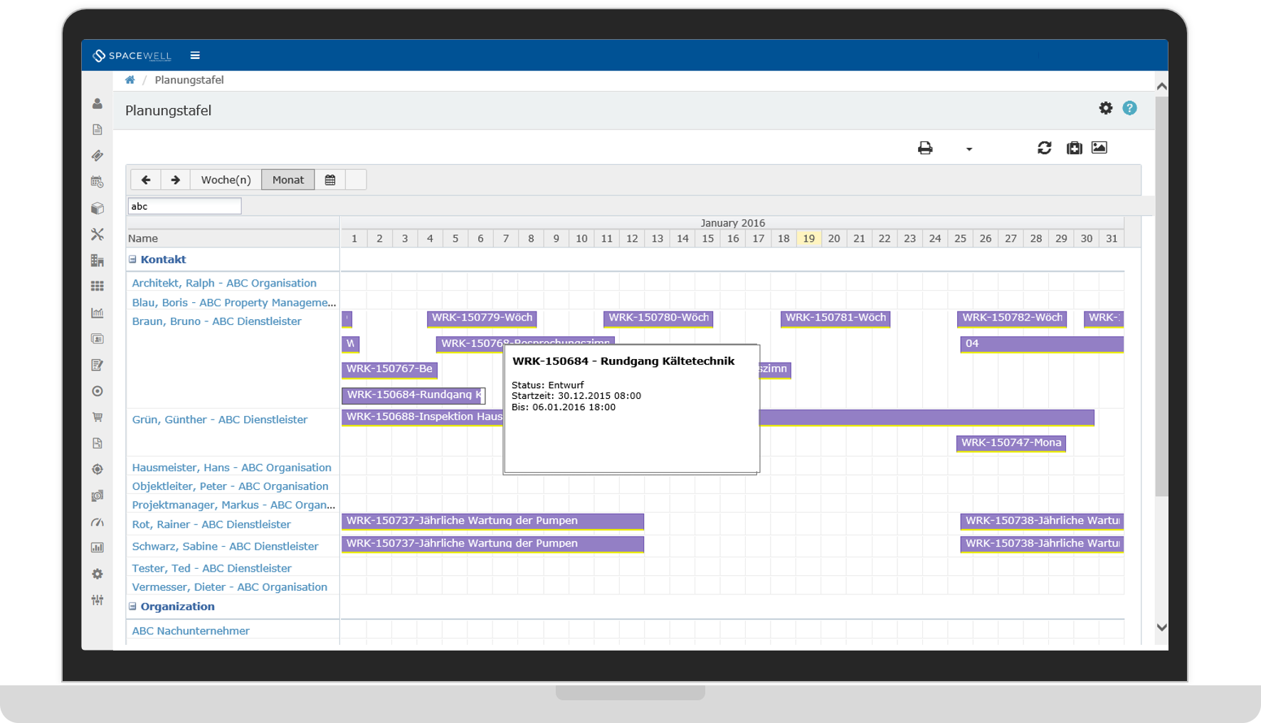Software für Arbeitsaufträge und Ressourcenplanung