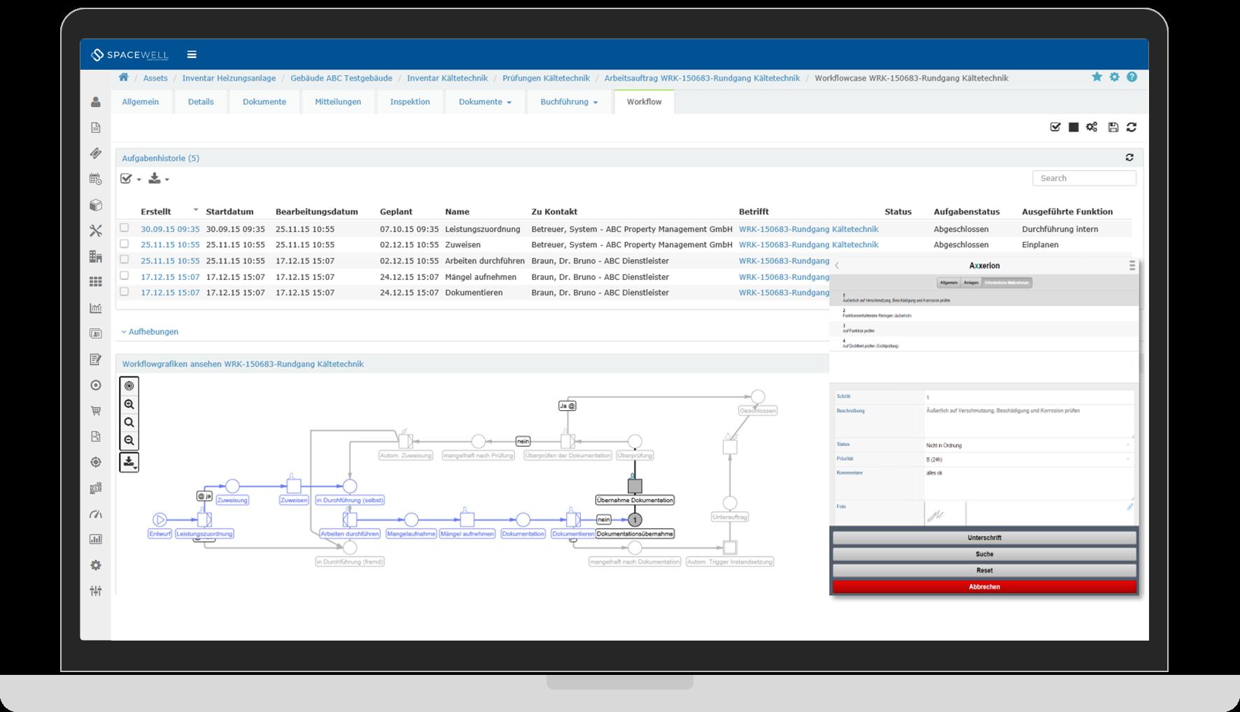 Work order management screenshot
