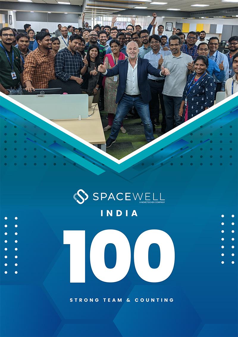 Poster Spacewell India 100 medewerkers