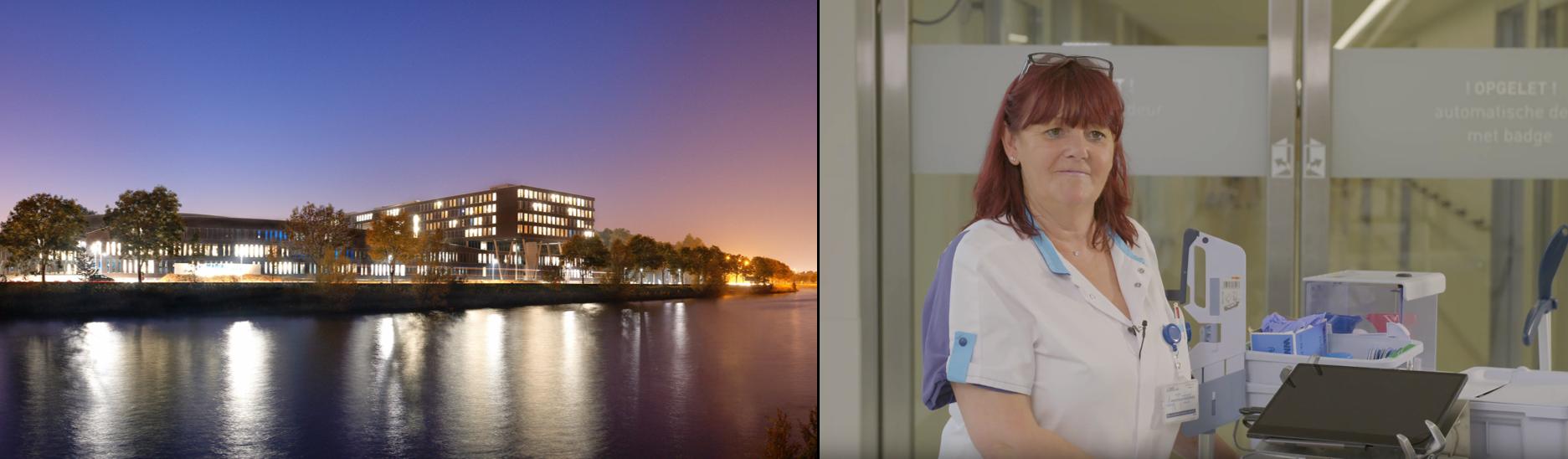 Bild som visar en sjuksköterska och ett sjukhus