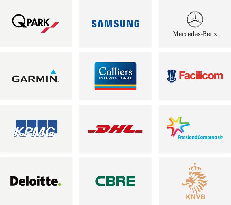 QPark, Samsung, Mercedez-Benz, Garmin, Colliers, Facilicom, KPMG, DHL, Friesland Campina, Deloitte CBRE and KNVP logos