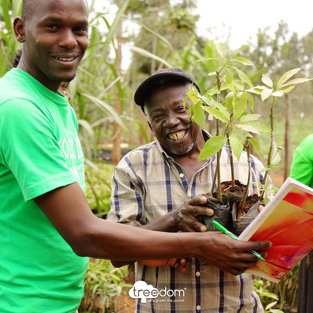 Des Kenyans tenant des jeunes arbres