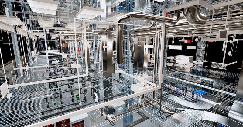 Visualisierung des Konzepts der BIM-Modell-Utilities des Gebäudes