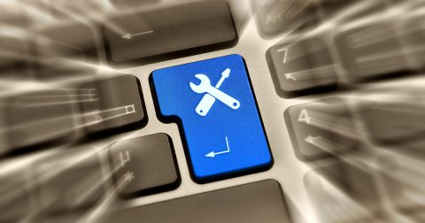 Keyboard enter button closeup
