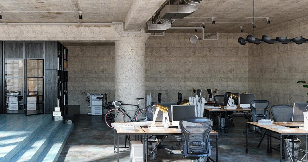 Industrial style office interior