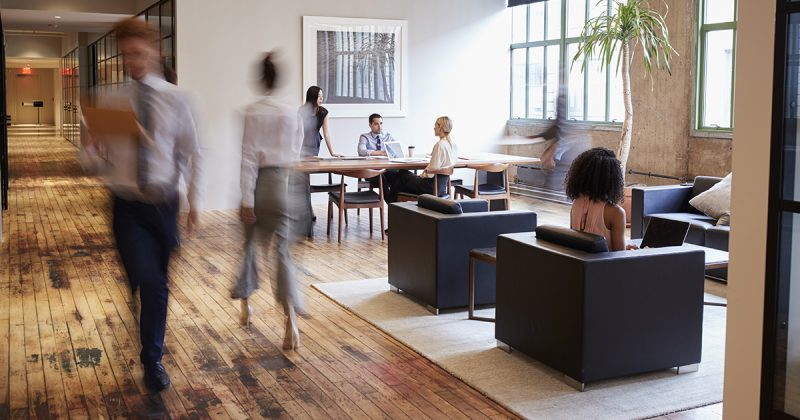 Office workers with flexible seating