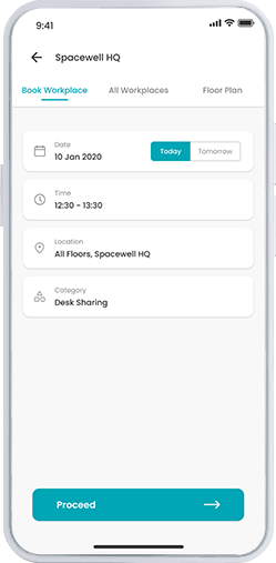 Workspace app screenshot - find a workplace