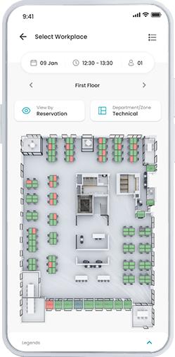 Workspace app screenshot - hitta lediga skrivbord