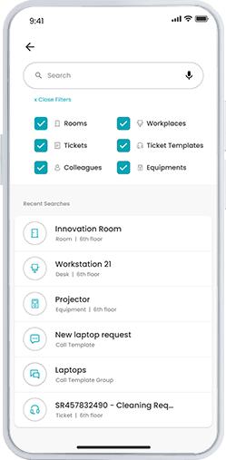 Workspace app - rechercher des choses