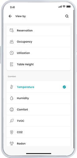 Workspace app screenshot - vue par capteur