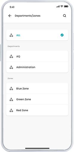 Workspace app screenshot - zoner och avdelningar