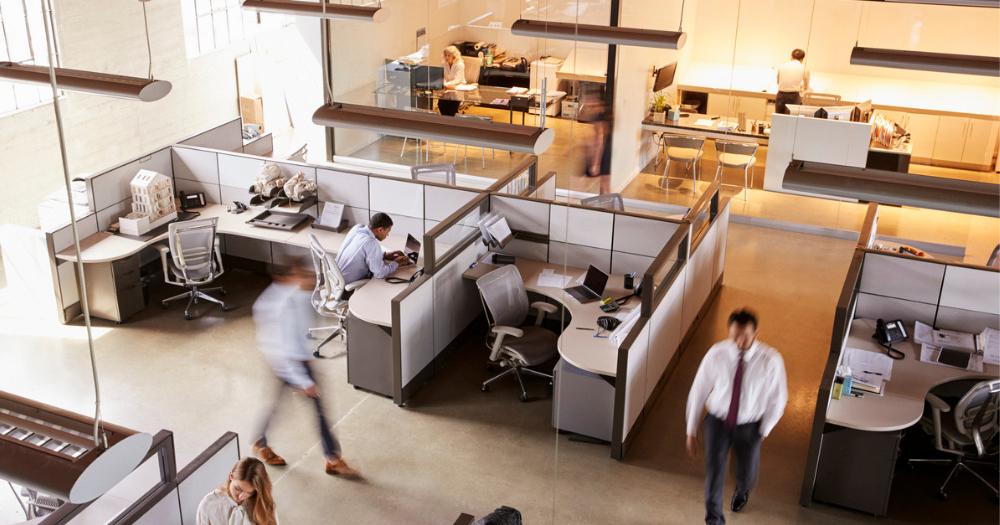 Birds eye view of office