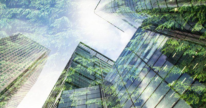 Gebäude mit verblassten Bäumen überlagern